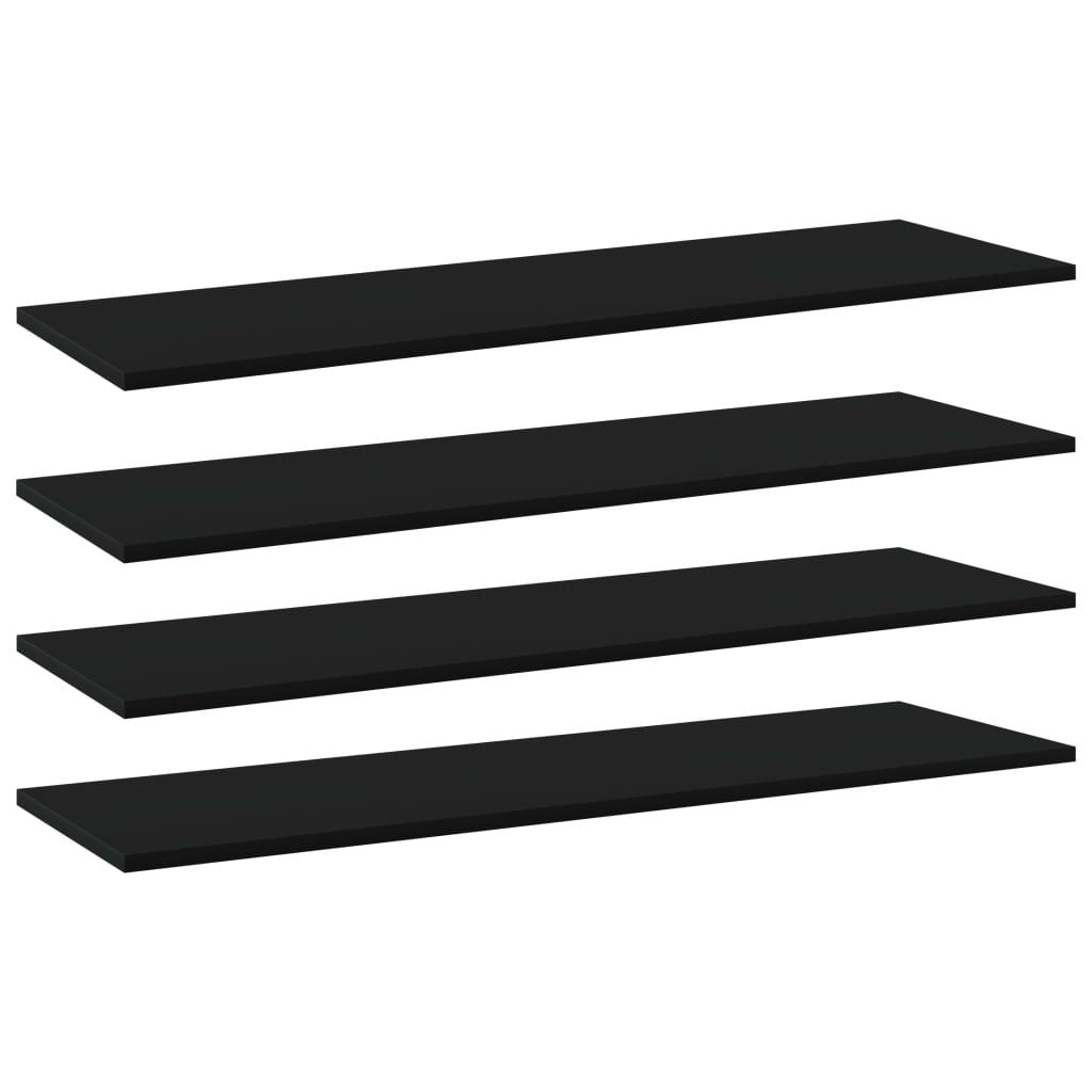 vidaXL Plăci bibliotecă, 4 buc., negru, 100 x 30 x 1,5 cm, PAL imagine vidaxl.ro