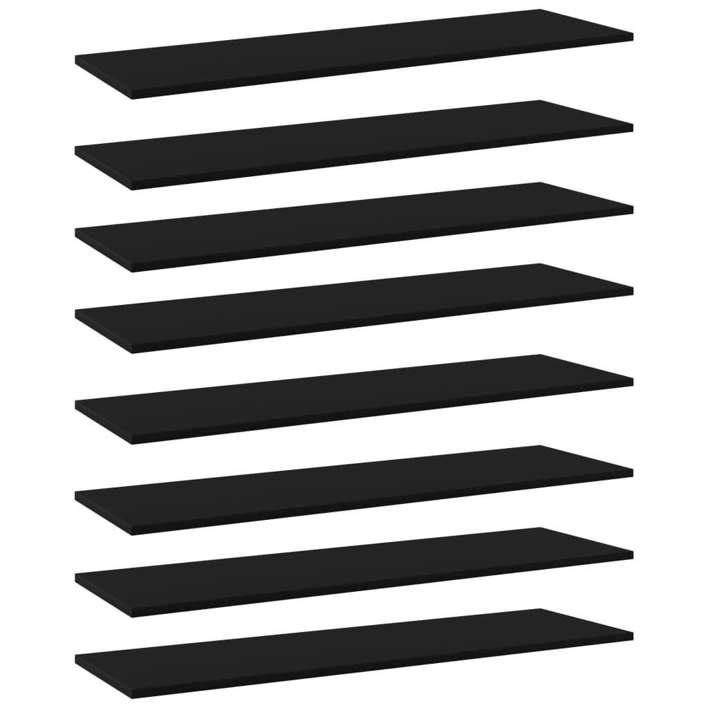 vidaXL Plăci pentru bibliotecă, negru, 8 buc., 100 x 30 x 1,5 cm, PAL imagine vidaxl.ro