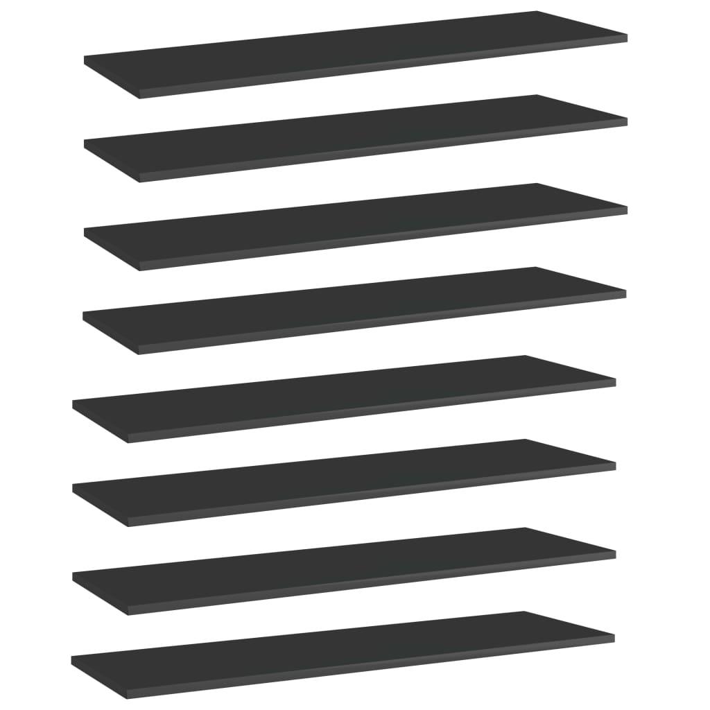 vidaXL Plăci bibliotecă 8 buc. negru extralucios 100 x 30 x 1,5 cm PAL vidaxl.ro