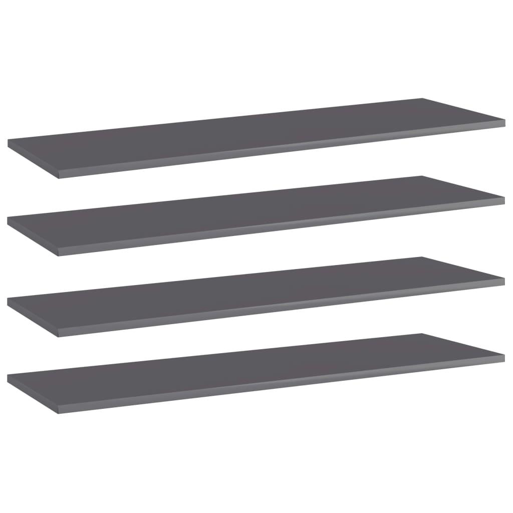 vidaXL Wandschappen 4 st 100x30x1,5 cm spaanplaat hoogglans grijs