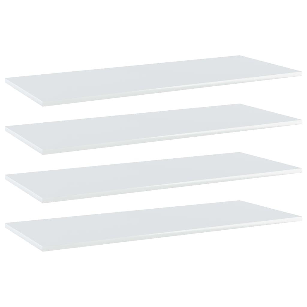 vidaXL Plăci bibliotecă, 4 buc. alb extralucios, 100 x 40 x 1,5 cm PAL imagine vidaxl.ro