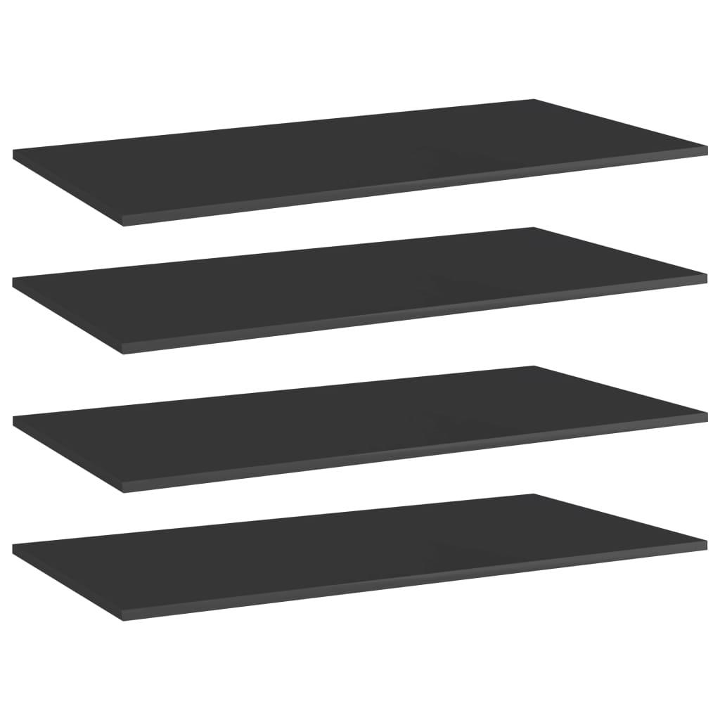 vidaXL Plăci bibliotecă 4 buc. negru extralucios 100 x 50 x 1,5 cm PAL imagine vidaxl.ro