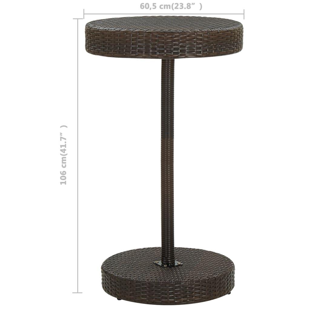 vidaXL 3-delige Tuinbarset met kussens poly rattan bruin