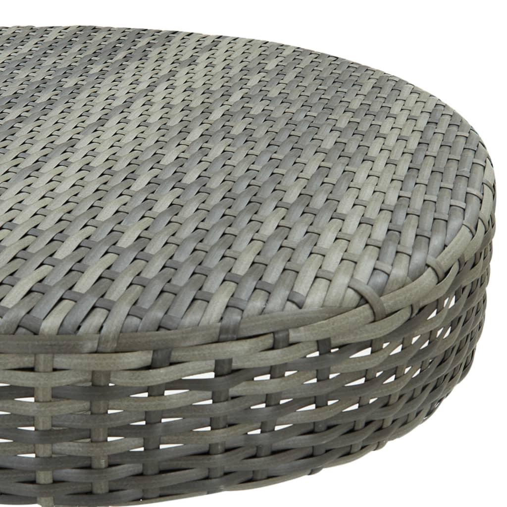 vidaXL 3-delige Tuinbarset met kussens poly rattan grijs