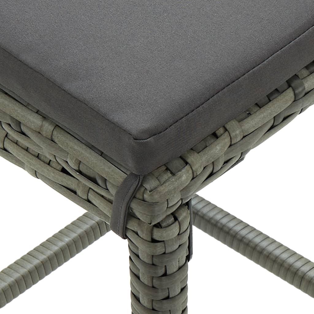 vidaXL 5-delige Tuinbarset met kussens poly rattan grijs