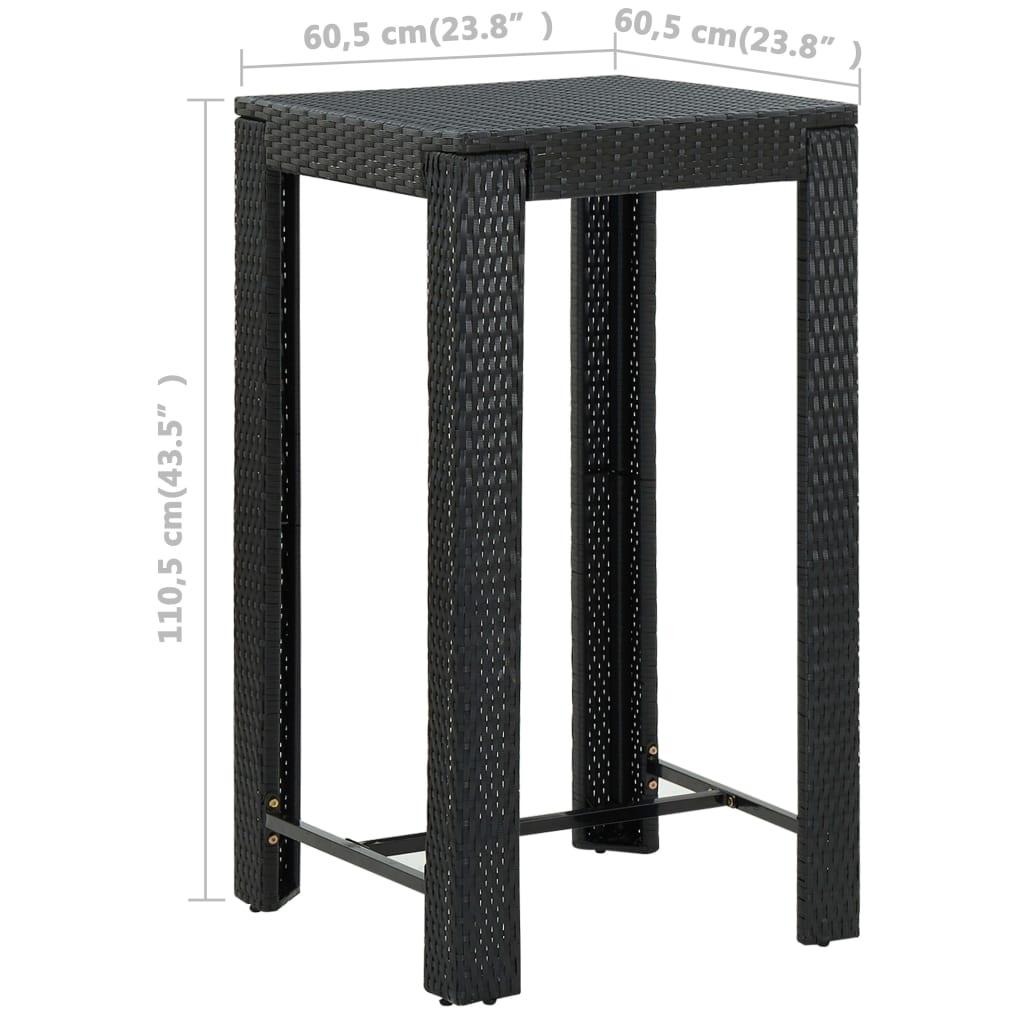 vidaXL 3-delige Tuinbarset met kussens poly rattan zwart