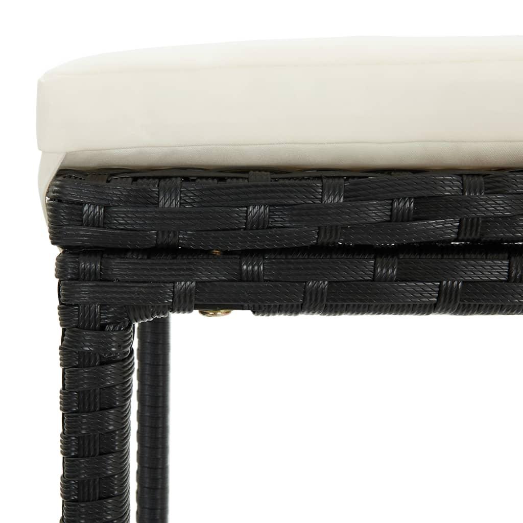 vidaXL 9-delige Tuinbarset met kussens poly rattan zwart