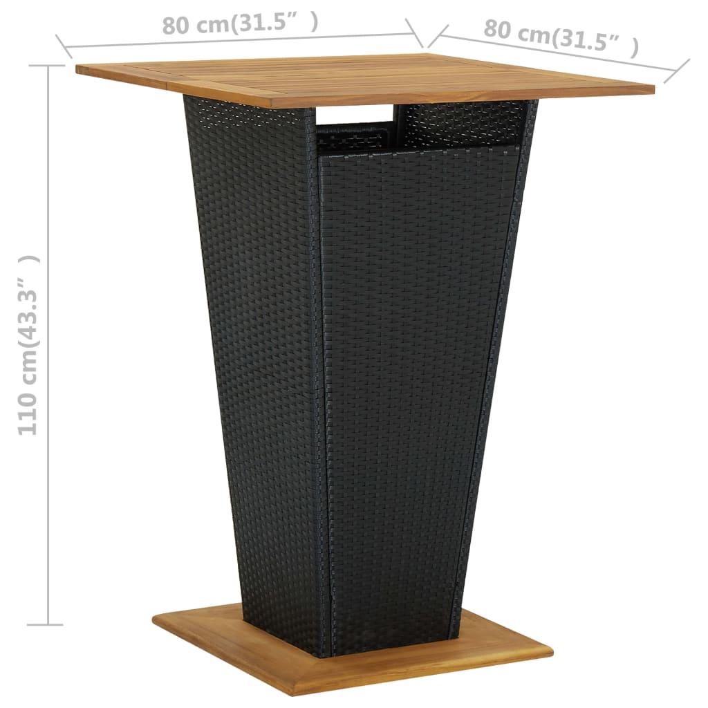 vidaXL 5-delige Tuinbarset zwart