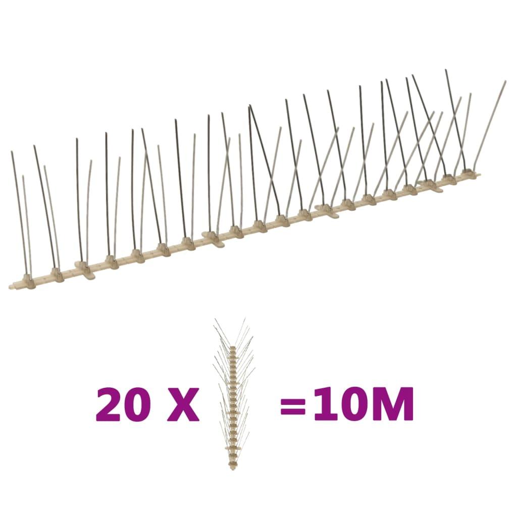 vidaXL 4řadové hroty proti ptákům a holubům plastové 20 ks 10 m