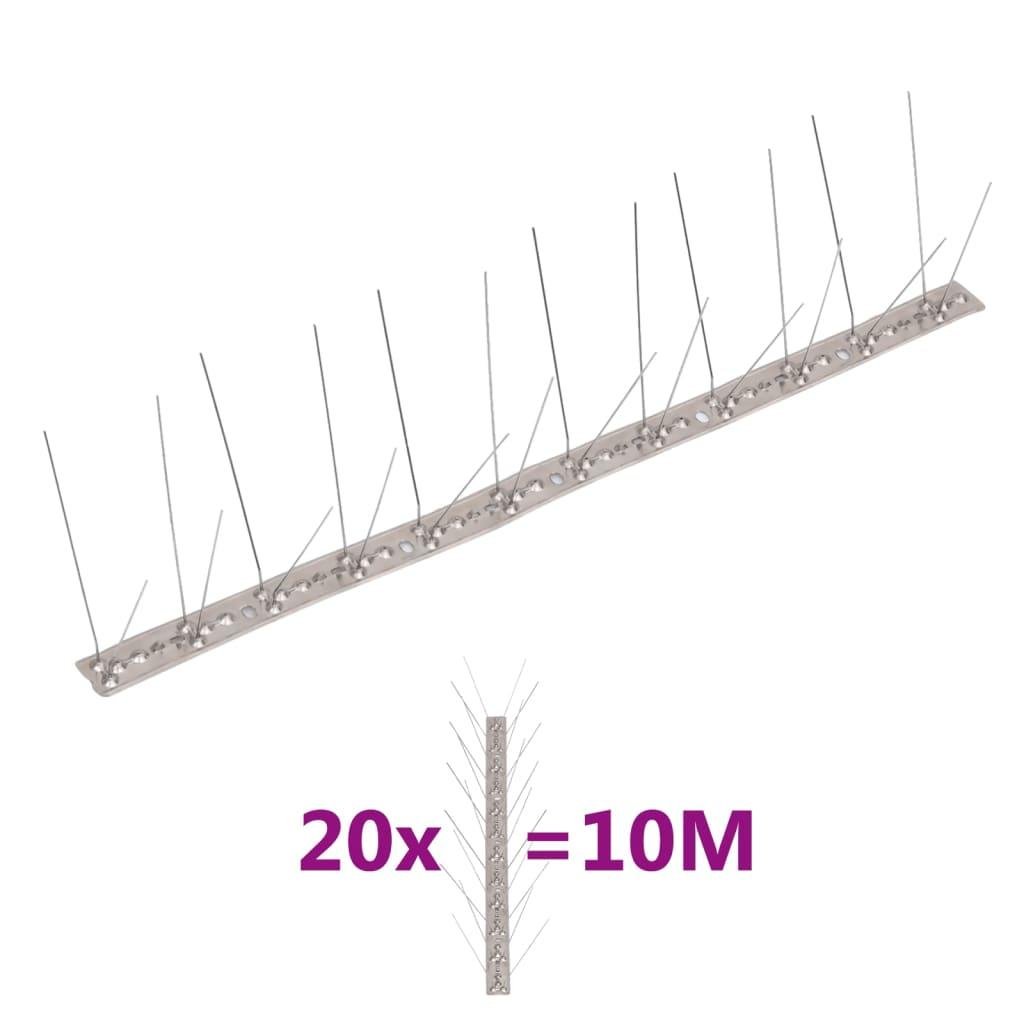 vidaXL 4řadové nerezové hroty proti ptákům a holubům sada 20 ks 10 m