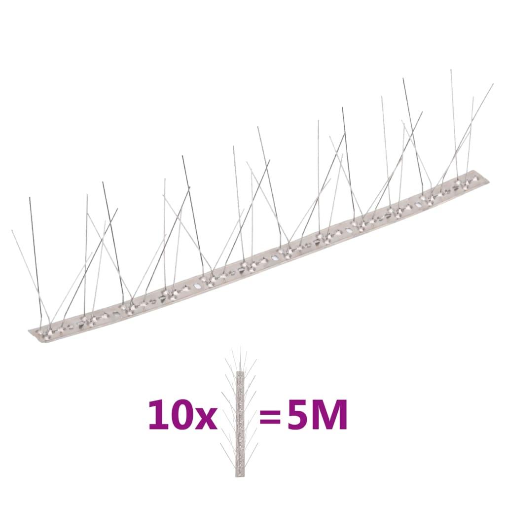 10-tlg. Vogelabwehr-Spikes-Set 5 m Edelstahl 5-reihig