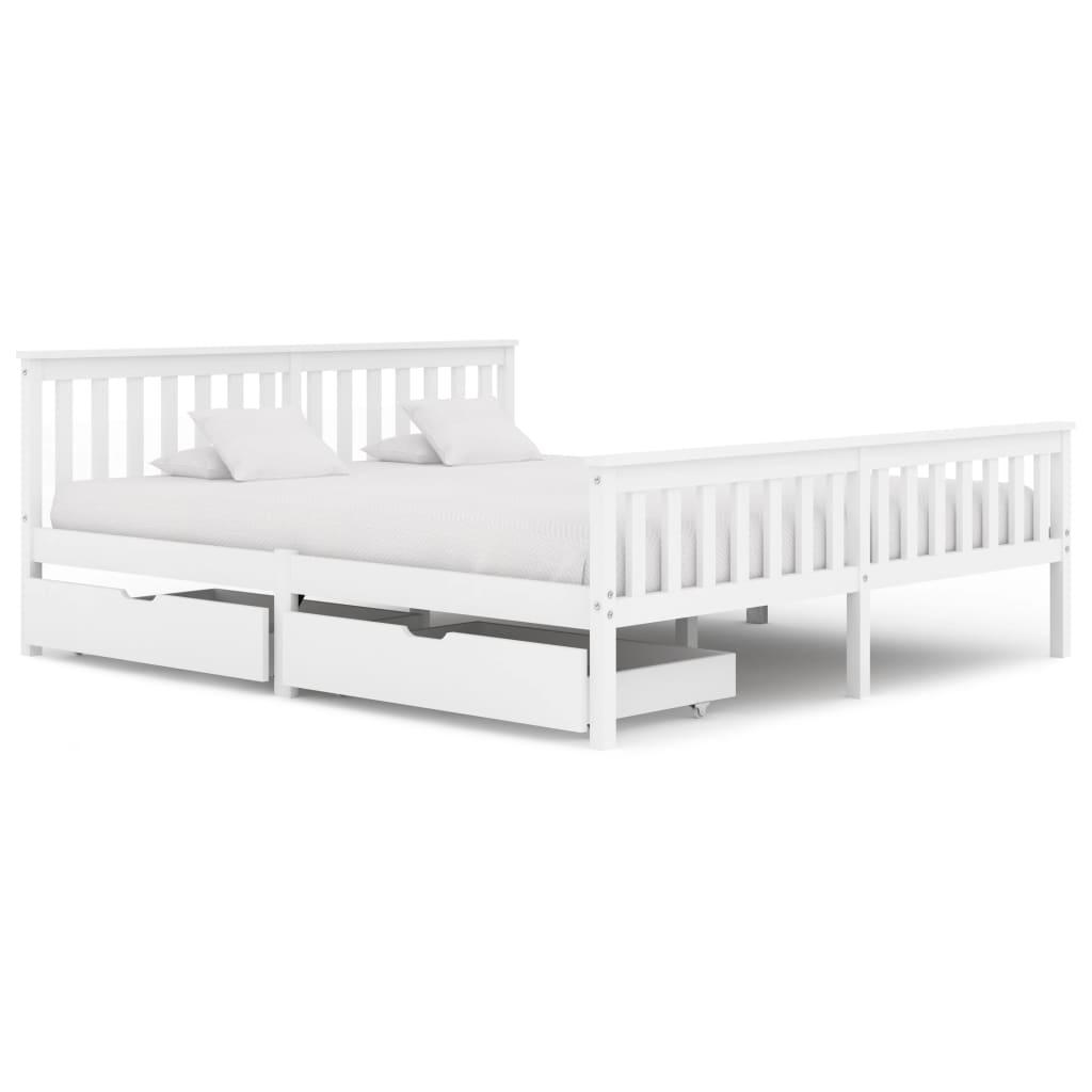 vidaXL Cadru de pat cu 2 sertare, alb, 180 x 200 cm, lemn masiv pin poza 2021 vidaXL
