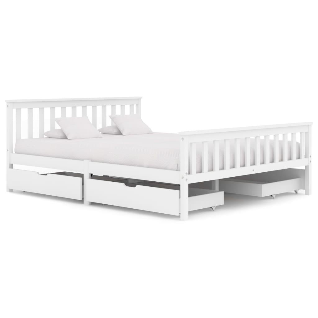 vidaXL Cadru de pat cu 4 sertare, alb, 160 x 200 cm, lemn masiv de pin poza 2021 vidaXL