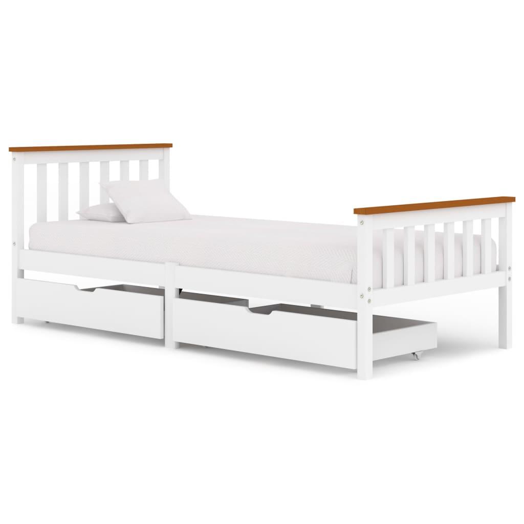 vidaXL Cadru de pat cu 2 sertare, alb, 90 x 200 cm, lemn masiv pin poza vidaxl.ro