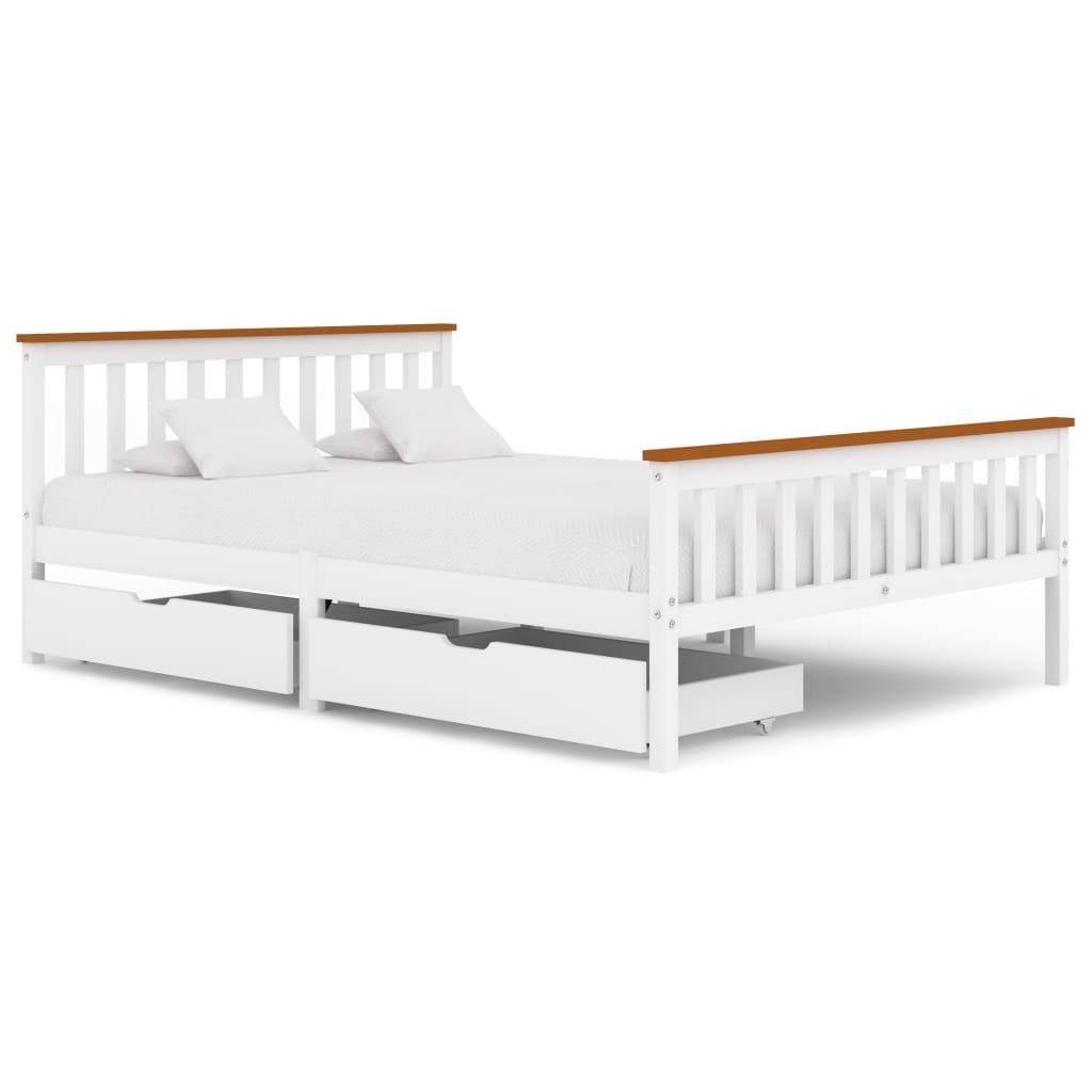 vidaXL Cadru de pat cu 2 sertare, alb, 140 x 200 cm, lemn masiv pin poza vidaxl.ro