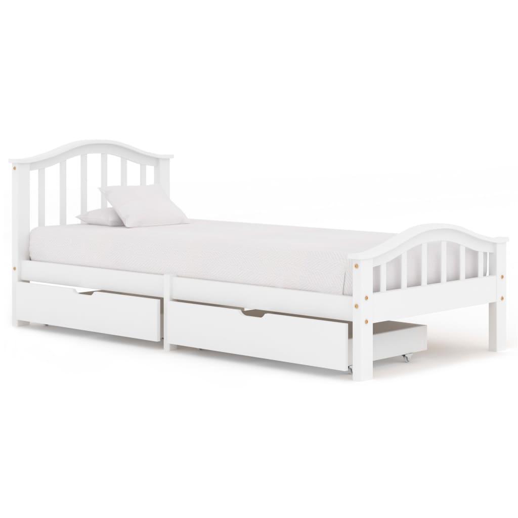vidaXL Cadru de pat cu 2 sertare, alb, 90x200 cm, lemn masiv pin vidaxl.ro