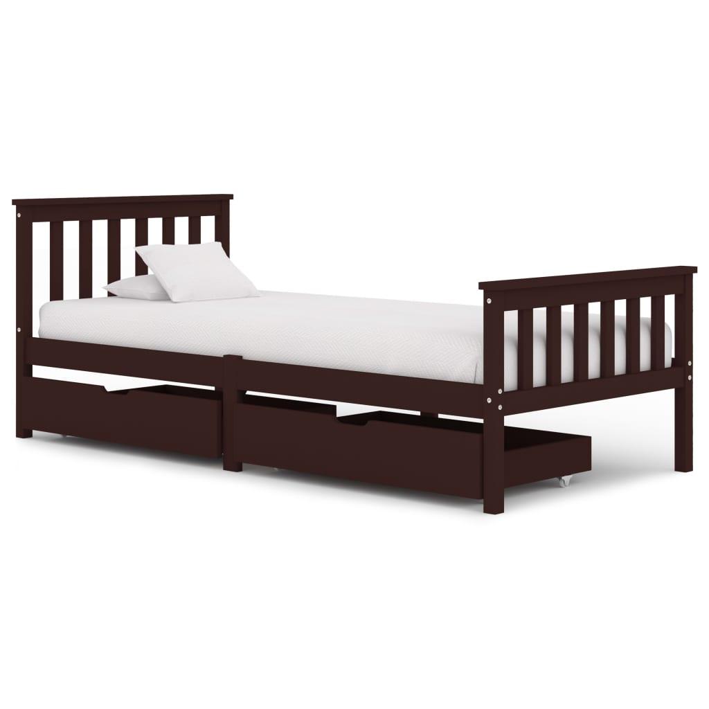 vidaXL Cadru pat cu 2 sertare, maro închis, 90x200 cm, lemn masiv pin imagine vidaxl.ro
