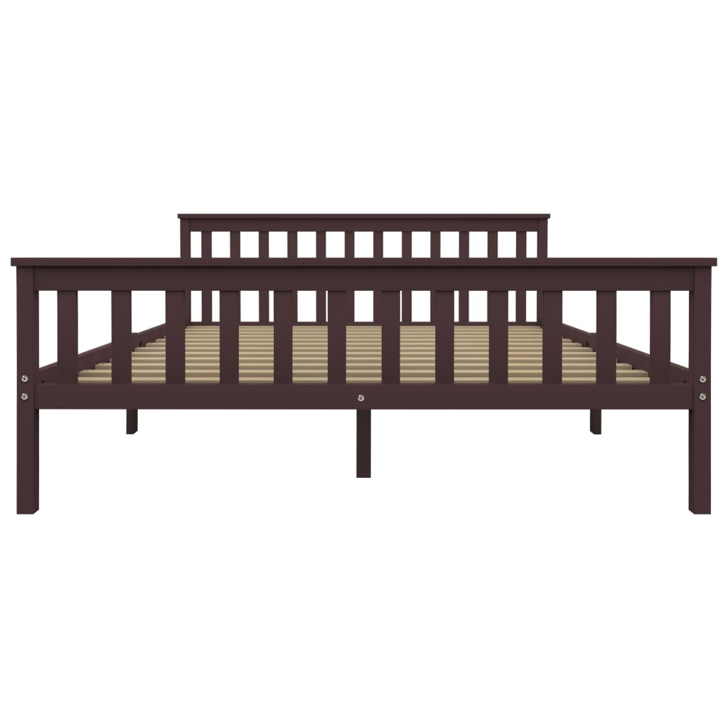 vidaXL Bedframe met 2 lades massief grenenhout donkerbruin 160x200 cm