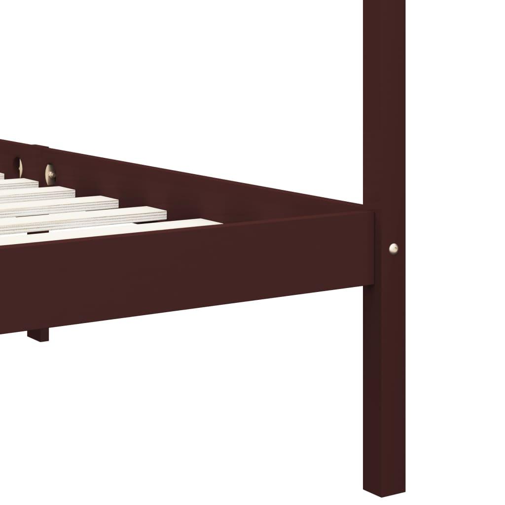 vidaXL Hemelbedframe met 2 lades grenenhout donkerbruin 90x200 cm