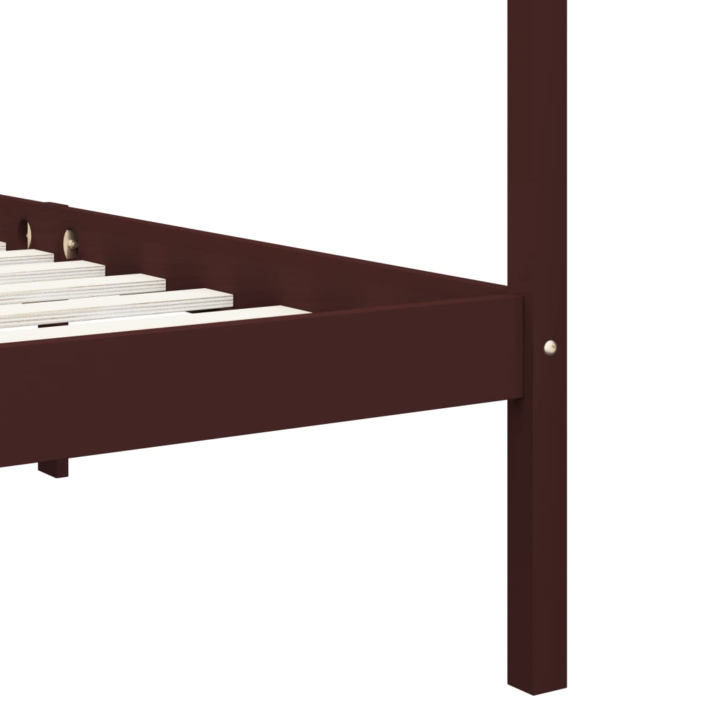 vidaXL Hemelbedframe met 2 lades grenenhout donkerbruin 160x200 cm