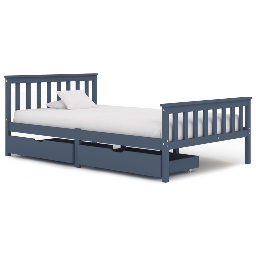 vidaXL Cadru de pat cu 2 sertare, gri, 120 x 200 cm, lemn masiv pin poza 2021 vidaXL
