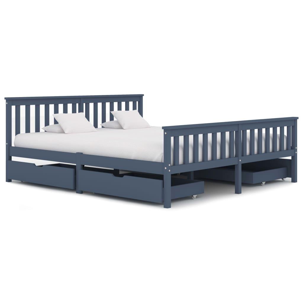 vidaXL Cadru de pat cu 4 sertare, gri, 180 x 200 cm, lemn masiv de pin poza vidaxl.ro
