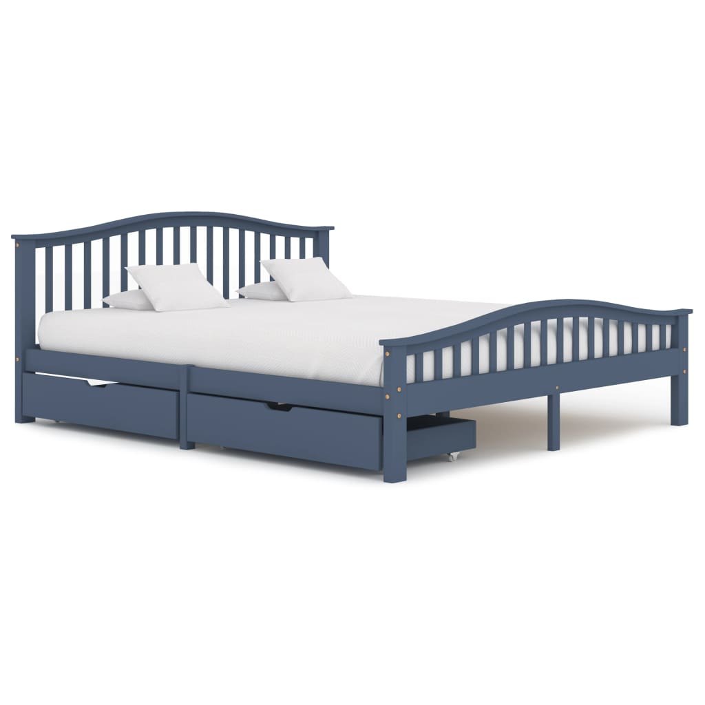 vidaXL Cadru de pat cu 2 sertare, gri, 180x200 cm, lemn masiv pin poza vidaxl.ro