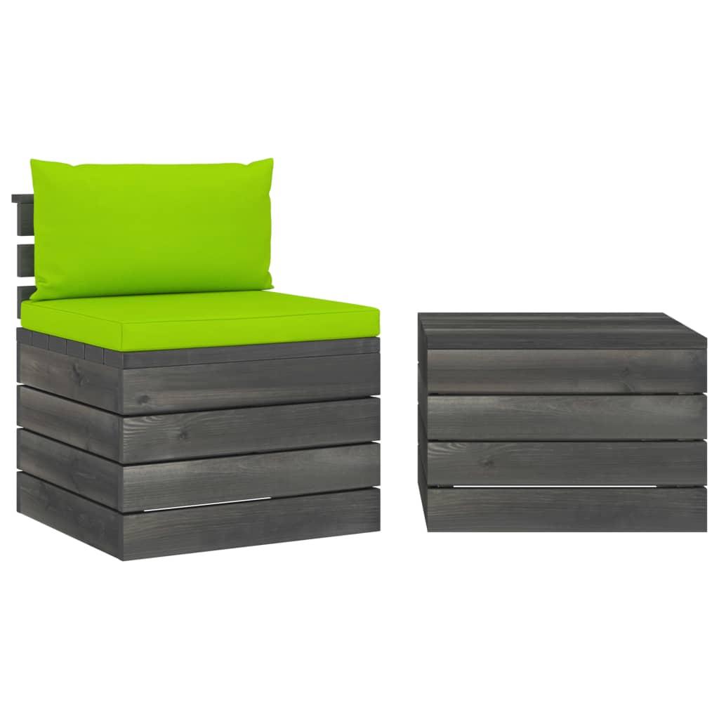 2dílná zahradní sedací souprava z palet + podušky borové dřevo