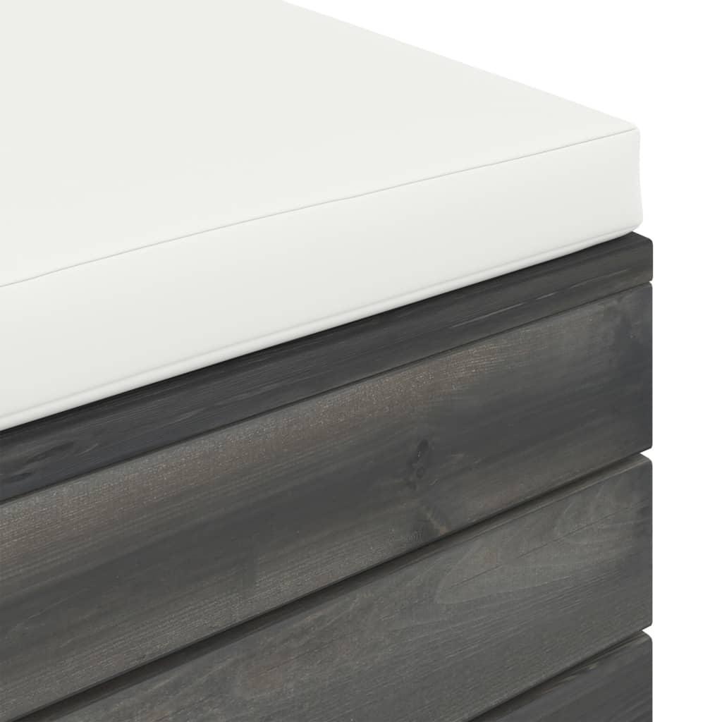 3-delige Loungeset met kussens pallet massief grenenhout