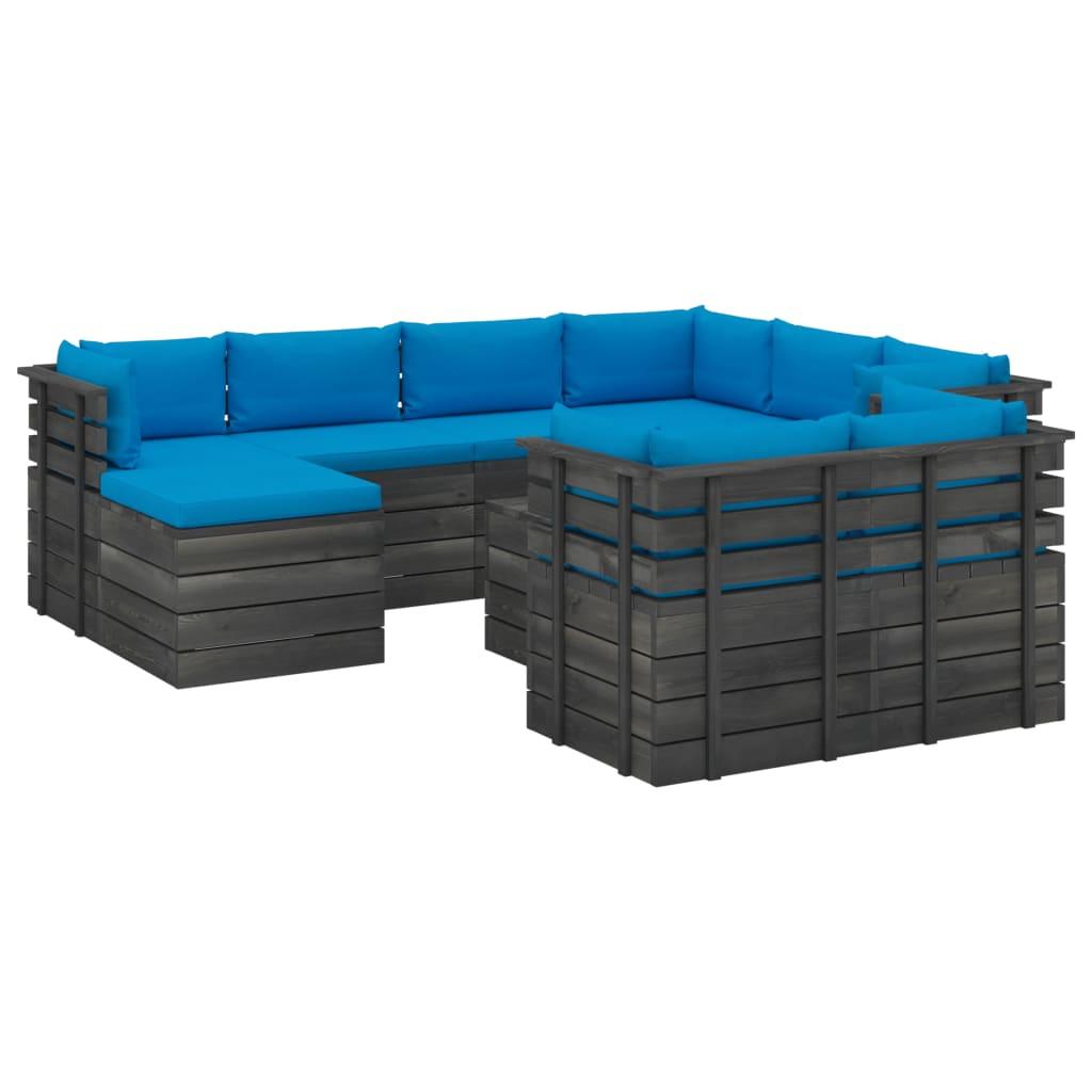 10-tlg. Garten-Sofagarnitur aus Paletten mit Kissen Kiefernholz