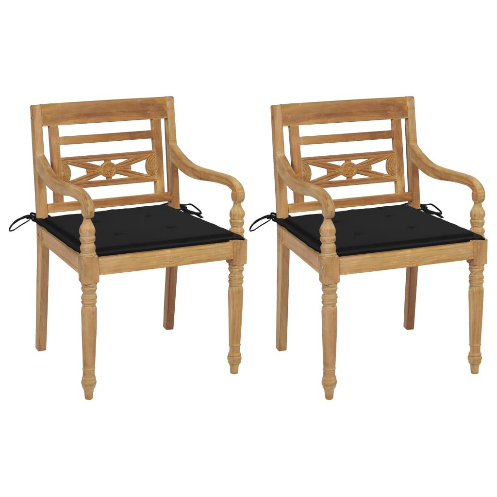 <ul><li>Polsterfarbe: Schwarz</li><li>Material: Fein geschliffenes Teakholz mit Lack auf Wasserbasis</li><li>Kissen-Material: Stoff (100% Polyester)</li><li>Stuhl-Maße: 55 x 51,5 x 84 cm (B x T x H)</li><li>Sitztiefe: 51,5 cm</li><li>Sitzhöhe vom Boden: 45 cm</li><li>Armlehnenhöhe vom Boden: 64 cm</li><li>Kissenmaße: 50 x 50 x 4 cm (L x B x T)</li><li>Geeignet für den Innen- und Außenbereich</li><li>Montage erforderlich: Ja</li><li><strong>Lieferung enthält:</strong></li><li>2 x Stühle</li><li>2 x Polster</li></ul>