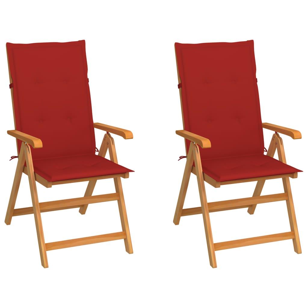 vidaXL Gartenstühle 2 Stk. mit Roten Kissen Massivholz Teak