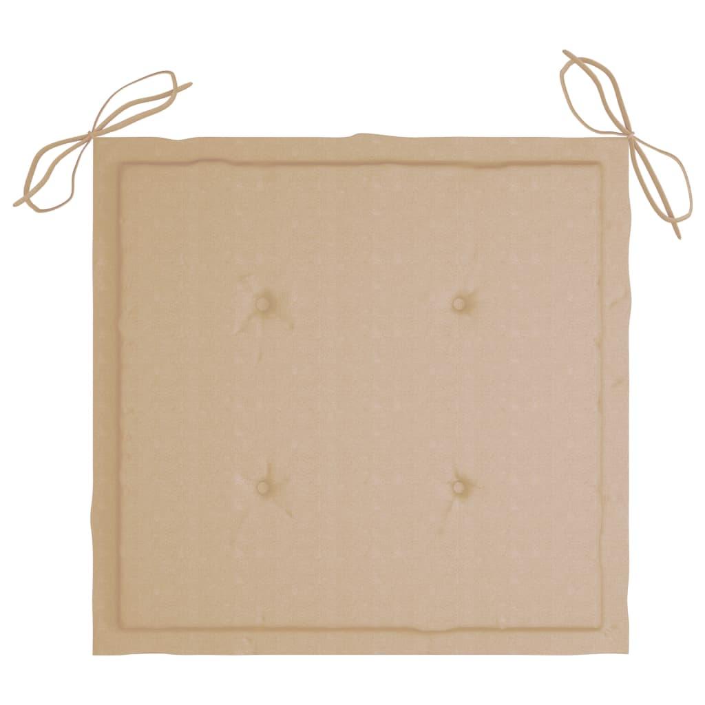 vidaXL Tuinstoelen 2 st met beige kussens massief teakhout