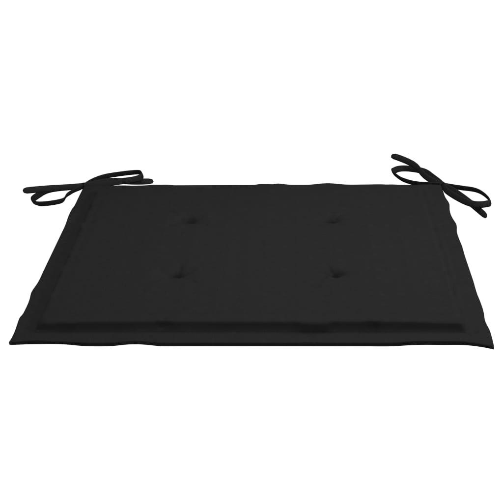vidaXL Tuinstoelen 2 st met zwarte kussens massief teakhout