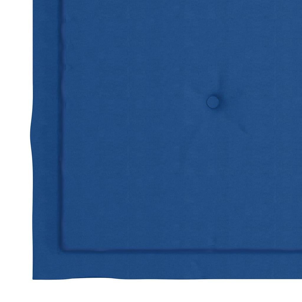 vidaXL Tuinstoelen 2 st met koningsblauwe kussens massief teakhout