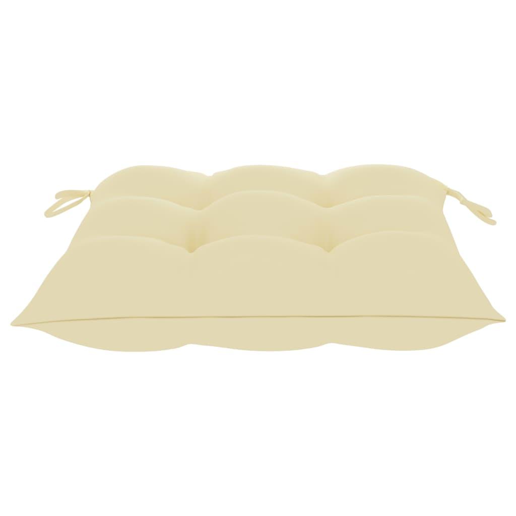 vidaXL Tuinstoelen 2 st met crèmewitte kussens massief teakhout