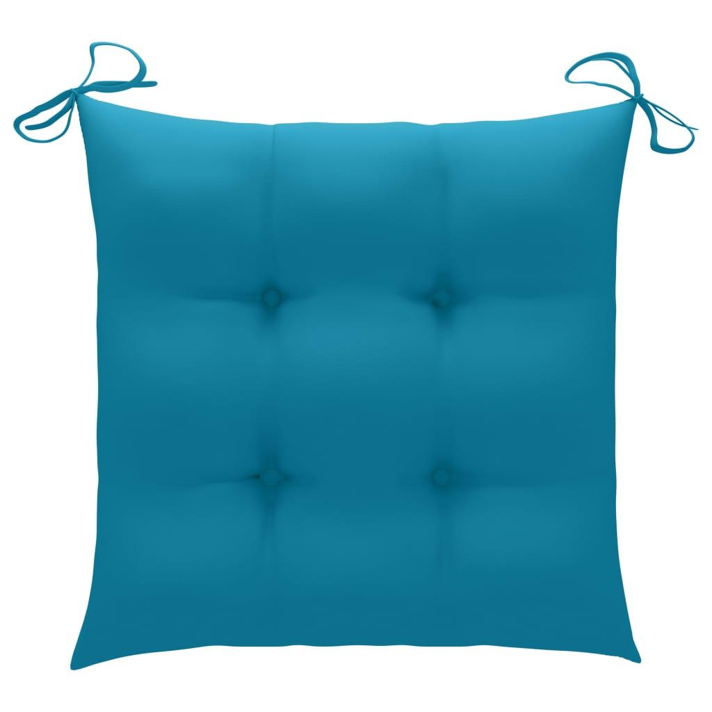 vidaXL Tuinstoelen 2 st met lichtblauwe kussens massief teakhout