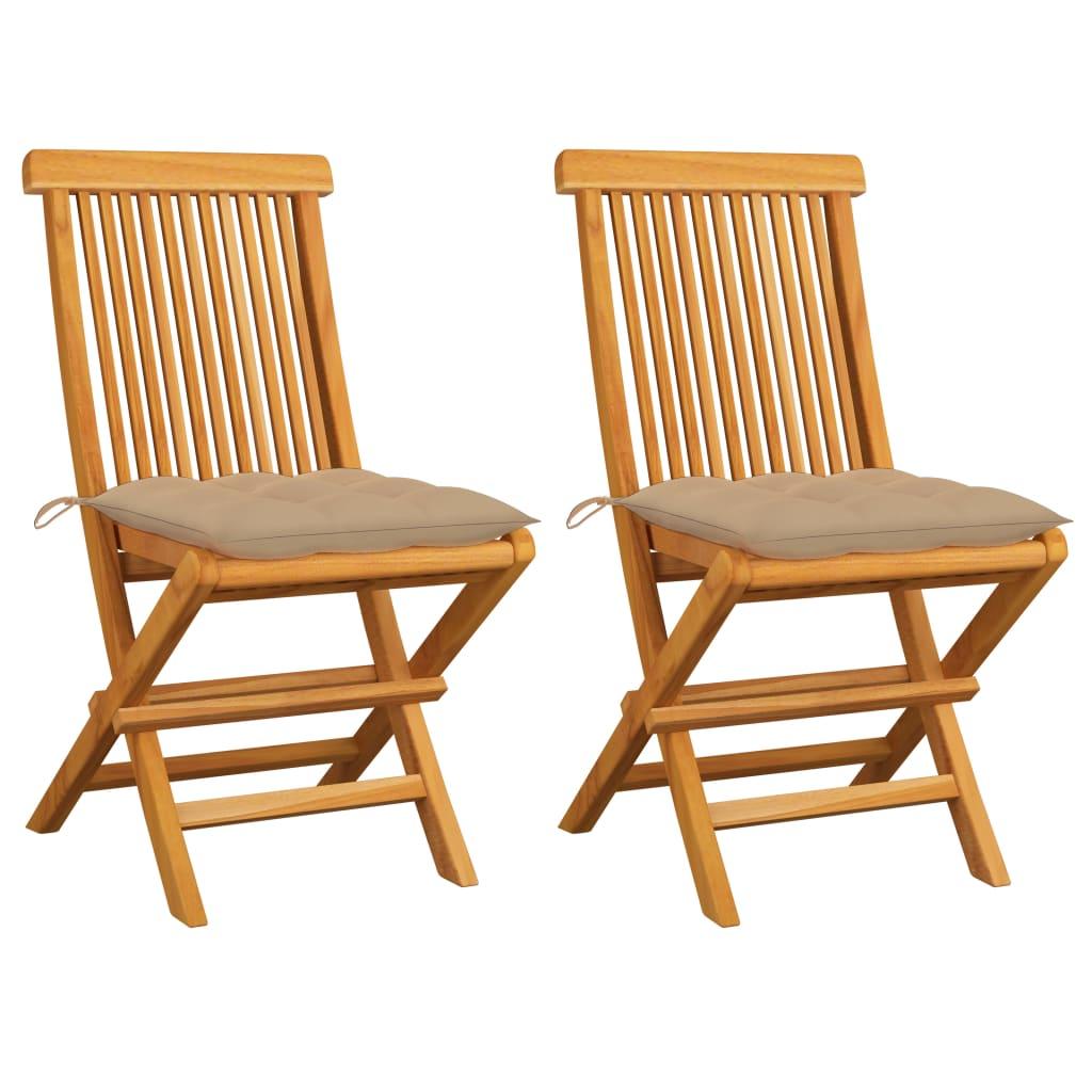 vidaXL Gartenstühle mit Beigen Kissen 2 Stk. Massivholz Teak