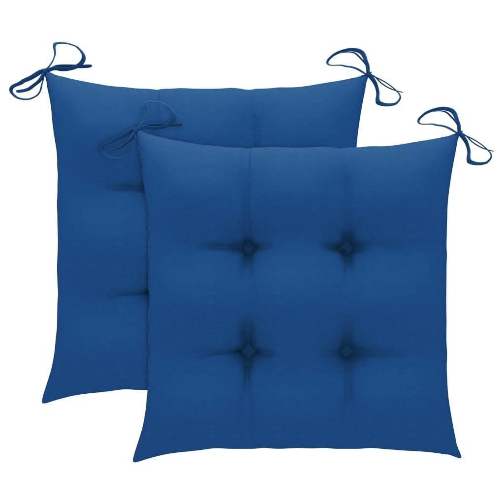 vidaXL Tuinstoelen 2 st met blauwe kussens massief teakhout