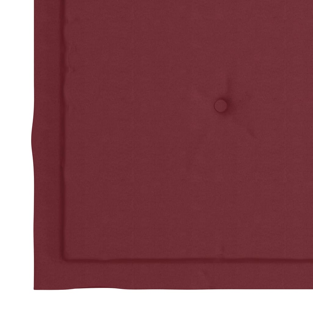 vidaXL Tuinstoelen 2 st met wijnrode kussens massief teakhout