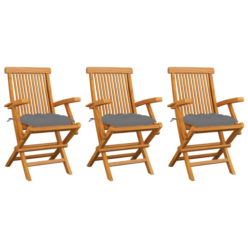 vidaXL Gartenstühle mit Grauen Kissen 3 Stk. Massivholz Teak