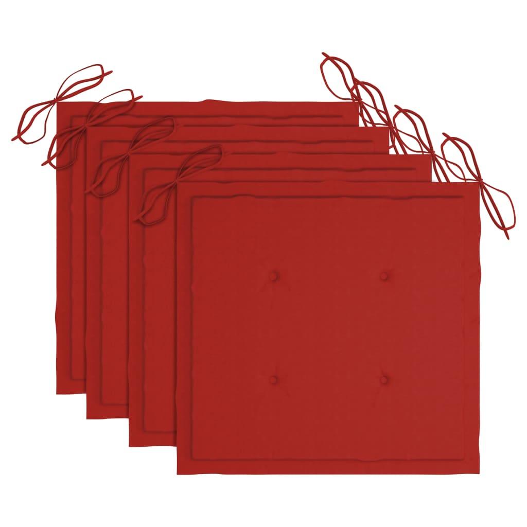 vidaXL Eetkamerstoelen 4 st met rode kussens massief teakhout