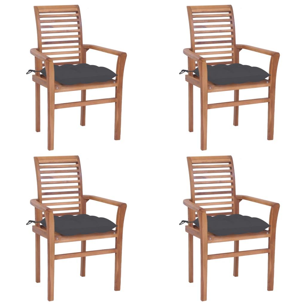 <ul><li>Kissen-Farbe: Anthrazit</li><li>Material: Fein geschliffenes Teakholz mit Lack auf Wasserbasis</li><li>Kissen-Material: Stoff (100% Polyester)</li><li>Abmessungen: 62 x 56,5 x 94 cm (B x T x H)</li><li>Sitzbreite: 47 cm</li><li>Sitztiefe: 45,5 cm</li><li>Sitzhöhe vom Boden: 45 cm</li><li>Armlehnenhöhe vom Boden: 64 cm</li><li>Kissenabmessungen: 40 x 40 x 7 cm (L x B x H)</li><li>Geeignet für den Innen- und Außenbereich</li><li>Montage erforderlich: Ja</li><li><strong>Lieferung enthält:</strong></li><li>4 x Gartenstuhl</li><li>4 x Sitzkissen</li></ul>