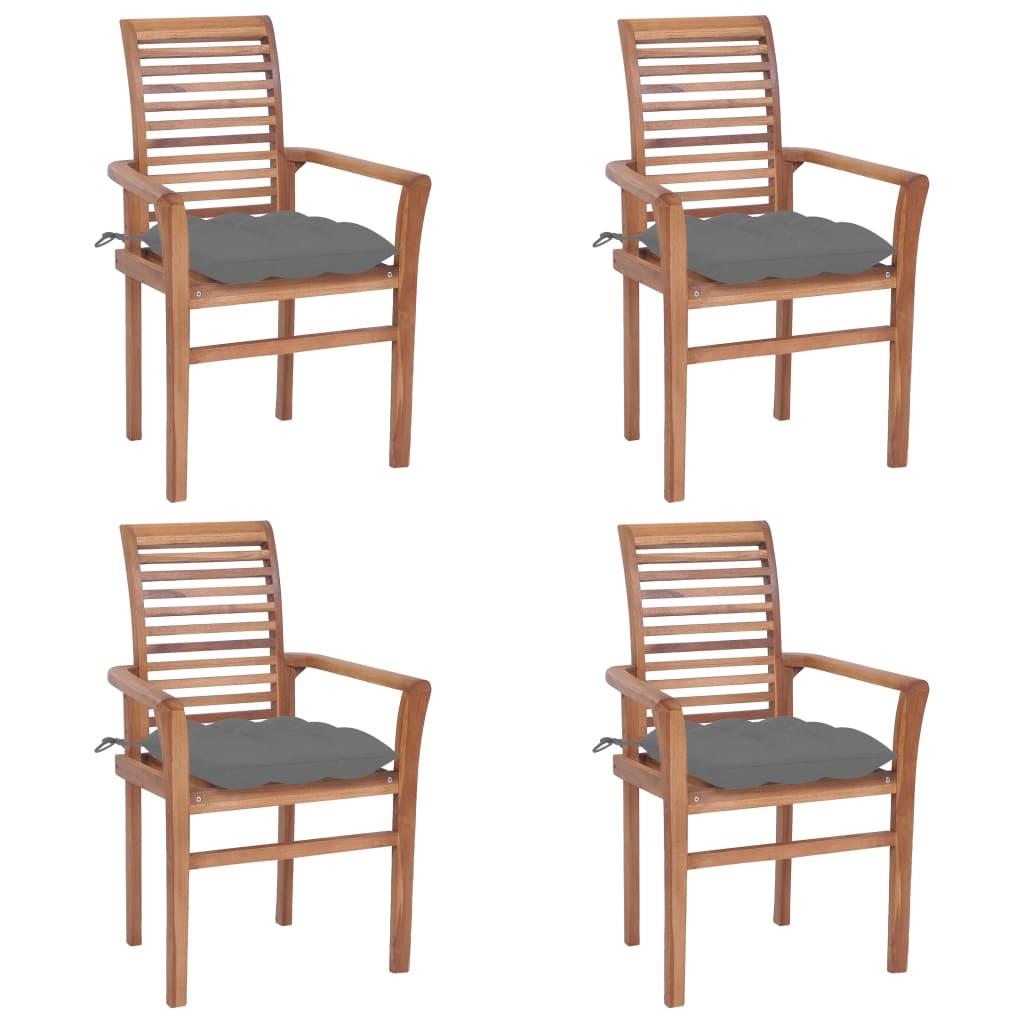 <ul><li>Polster-Farbe: Grau</li><li>Material: Fein geschliffenes Teakholz mit Lack auf Wasserbasis</li><li>Kissen-Material: Stoff (100% Polyester)</li><li>Abmessungen: 62 x 56,5 x 94 cm (B x T x H)</li><li>Sitzbreite: 47 cm</li><li>Sitztiefe: 45,5 cm</li><li>Sitzhöhe vom Boden: 45 cm</li><li>Armlehnenhöhe vom Boden: 64 cm</li><li>Kissenabmessungen: 40 x 40 x 7 cm (L x B x H)</li><li>Geeignet für den Innen- und Außenbereich</li><li>Montage erforderlich: Ja</li><li><strong>Lieferung enthält:</strong></li><li>4 x Gartenstuhl</li><li>4 x Sitzkissen</li></ul>
