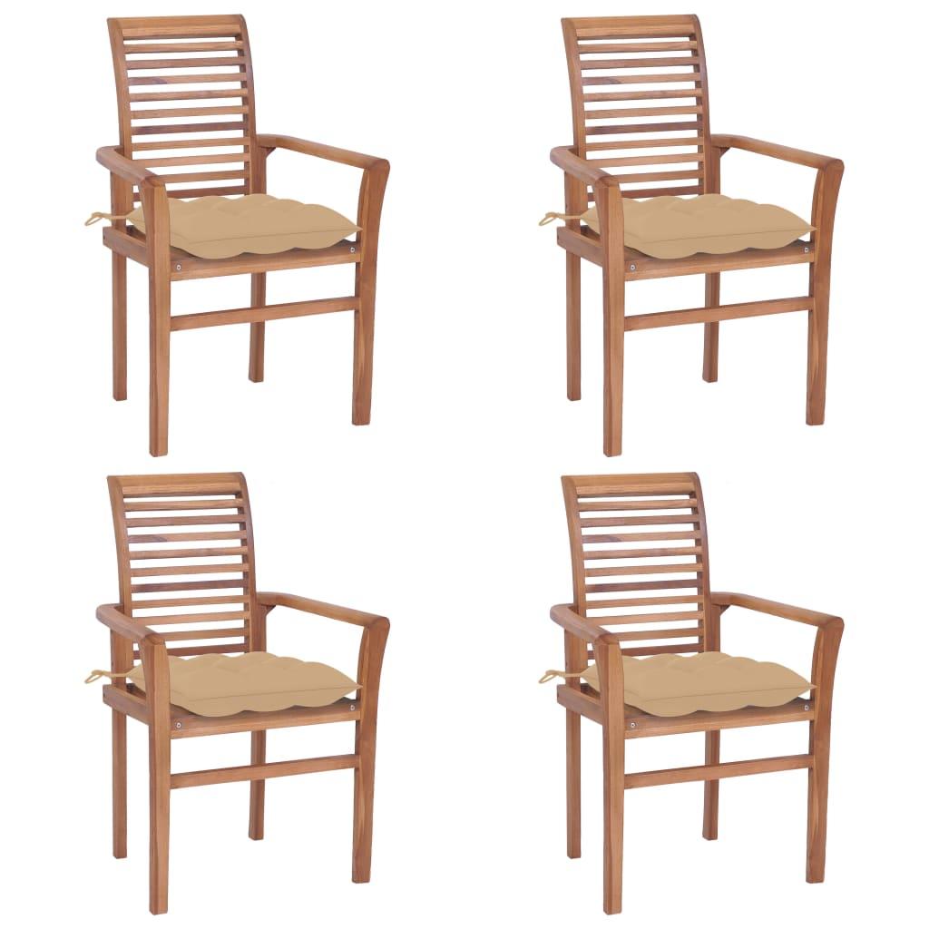 <ul><li>Kissenfarbe: Beige</li><li>Material: Fein geschliffenes Teakholz mit Lack auf Wasserbasis</li><li>Kissen-Material: Stoff (100% Polyester)</li><li>Abmessungen: 62 x 56,5 x 94 cm (B x T x H)</li><li>Sitzbreite: 47 cm</li><li>Sitztiefe: 45,5 cm</li><li>Sitzhöhe vom Boden: 45 cm</li><li>Armlehnenhöhe vom Boden: 64 cm</li><li>Kissenabmessungen: 40 x 40 x 7 cm (L x B x H)</li><li>Geeignet für den Innen- und Außenbereich</li><li>Montage erforderlich: Ja</li><li><strong>Lieferung enthält:</strong></li><li>4 x Gartenstuhl</li><li>4 x Sitzkissen</li></ul>