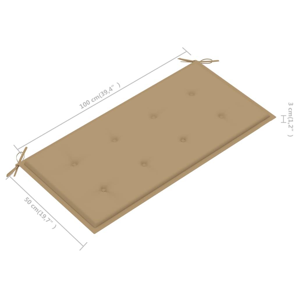 vidaXL Tuinbank met beige kussen 112 cm massief teakhout