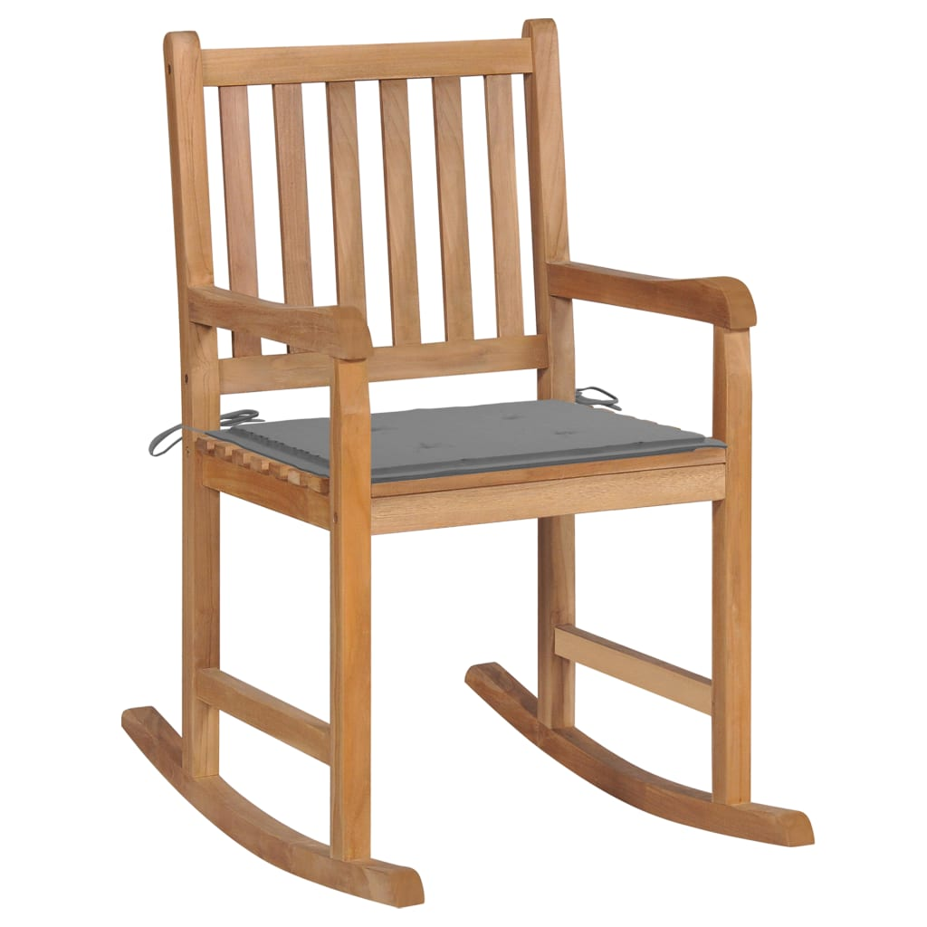 <ul><li>Polster-Farbe: Grau</li><li>Material: Fein geschliffenes Teakholz mit Lack auf Wasserbasis</li><li>Kissen-Material: Stoff (100% Polyester)</li><li>Abmessungen: 58 x 92,5 x 106 cm (B x T x H)</li><li>Sitztiefe: 50 cm</li><li>Sitzhöhe vom Boden: 54,5 cm</li><li>Rückenlehnenhöhe vom Sitz: 47,5 cm</li><li>Kissenmaße: 50 x 50 x 4 cm (L x B x T)</li><li>Montage erforderlich: Ja</li><li><strong>Lieferung enthält:</strong></li><li>1 x Schaukelstuhl mit Auflage</li><li>1 x Zusätzliches Kissen</li></ul>