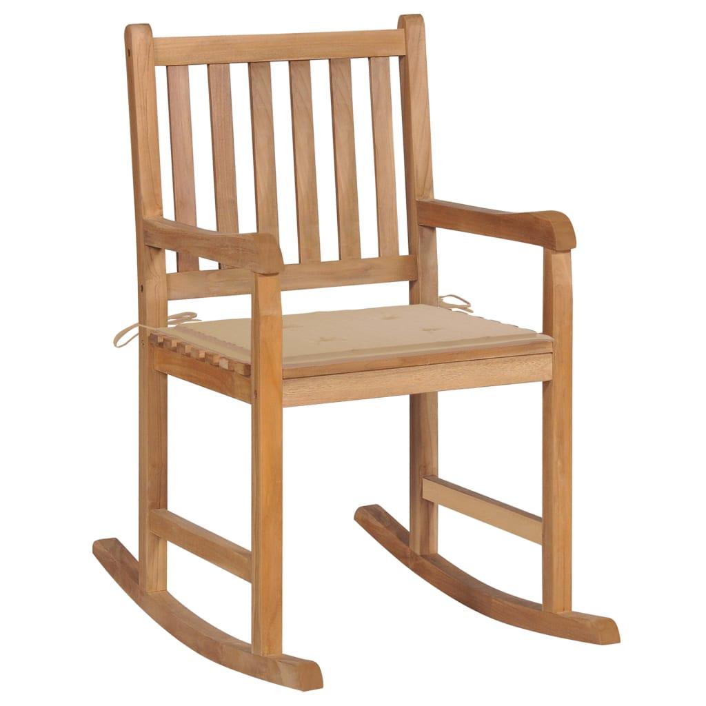 <ul><li>Kissenfarbe: Beige</li><li>Material: Fein geschliffenes Teakholz mit Lack auf Wasserbasis</li><li>Kissen-Material: Stoff (100% Polyester)</li><li>Abmessungen: 58 x 92,5 x 106 cm (B x T x H)</li><li>Sitztiefe: 50 cm</li><li>Sitzhöhe vom Boden: 54,5 cm</li><li>Rückenlehnenhöhe vom Sitz: 47,5 cm</li><li>Kissenmaße: 50 x 50 x 4 cm (L x B x T)</li><li>Montage erforderlich: Ja</li><li><strong>Lieferung enthält:</strong></li><li>1 x Schaukelstuhl mit Auflage</li><li>1 x Zusätzliches Kissen</li></ul>