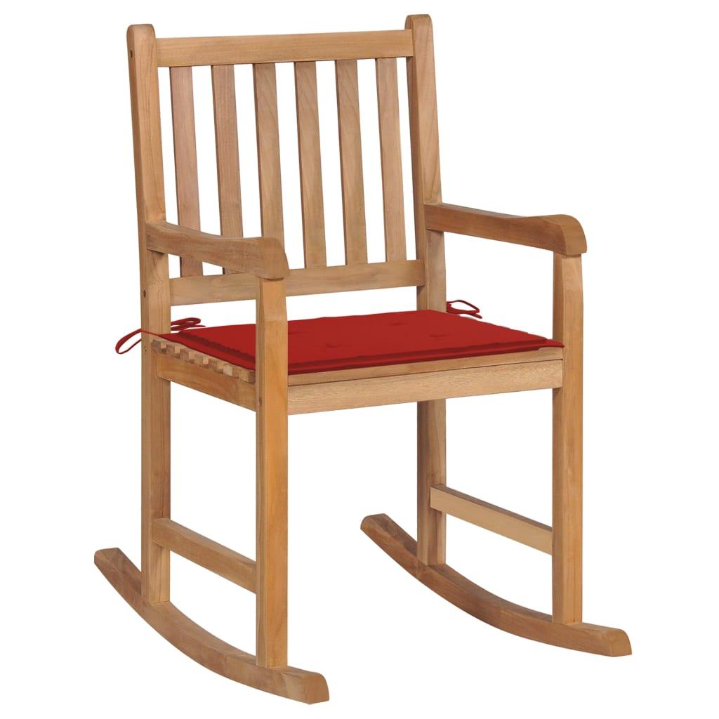 <ul><li>Polster-Farbe: Rot</li><li>Material: Fein geschliffenes Teakholz mit Lack auf Wasserbasis</li><li>Kissen-Material: Stoff (100% Polyester)</li><li>Abmessungen: 58 x 92,5 x 106 cm (B x T x H)</li><li>Sitztiefe: 50 cm</li><li>Sitzhöhe vom Boden: 54,5 cm</li><li>Rückenlehnenhöhe vom Sitz: 47,5 cm</li><li>Kissenmaße: 50 x 50 x 4 cm (L x B x T)</li><li>Montage erforderlich: Ja</li><li><strong>Lieferung enthält:</strong></li><li>1 x Schaukelstuhl mit Auflage</li><li>1 x Zusätzliches Kissen</li></ul>