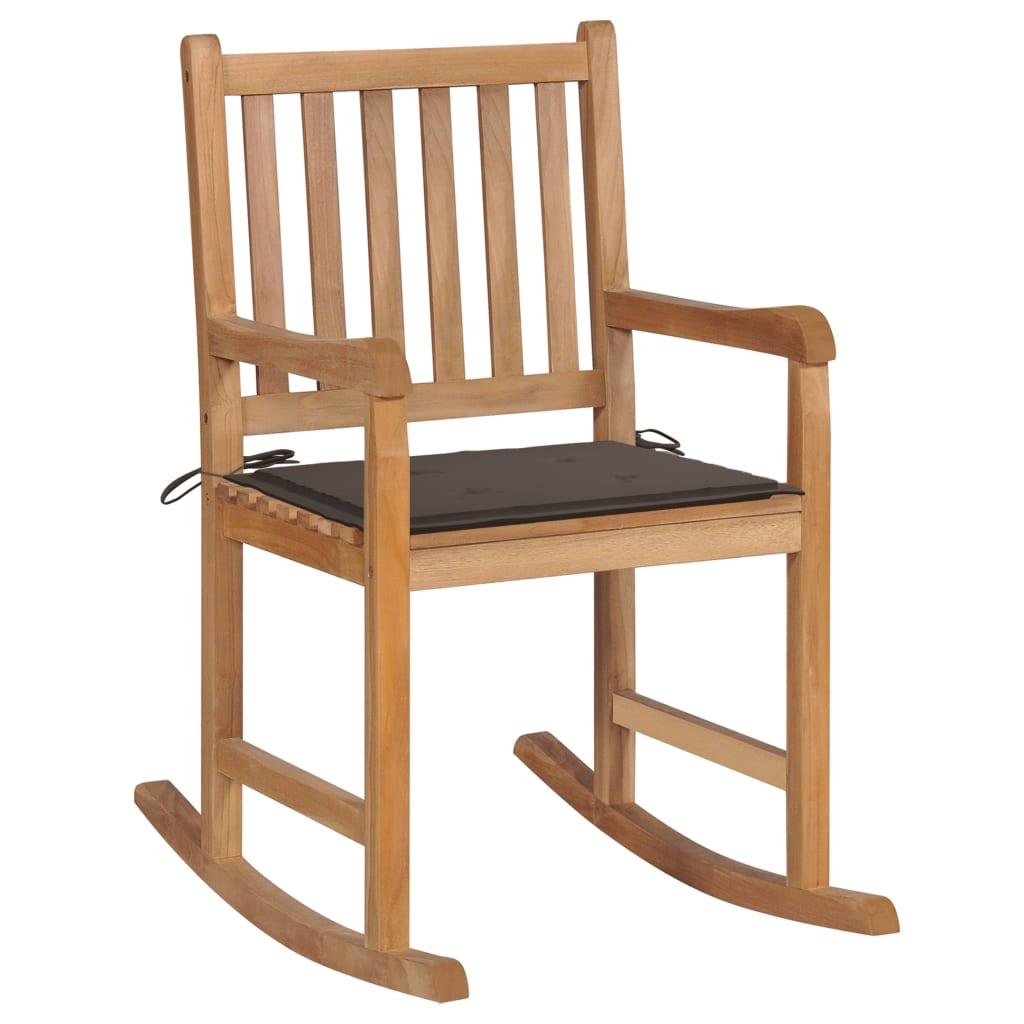 <ul><li>Kissenfarbe: Taupe</li><li>Material: Fein geschliffenes Teakholz mit Lack auf Wasserbasis</li><li>Kissen-Material: Stoff (100% Polyester)</li><li>Abmessungen: 58 x 92,5 x 106 cm (B x T x H)</li><li>Sitztiefe: 50 cm</li><li>Sitzhöhe vom Boden: 54,5 cm</li><li>Rückenlehnenhöhe vom Sitz: 47,5 cm</li><li>Kissenmaße: 50 x 50 x 4 cm (L x B x T)</li><li>Montage erforderlich: Ja</li><li><strong>Lieferung enthält:</strong></li><li>1 x Schaukelstuhl mit Auflage</li><li>1 x Zusätzliches Kissen</li></ul>